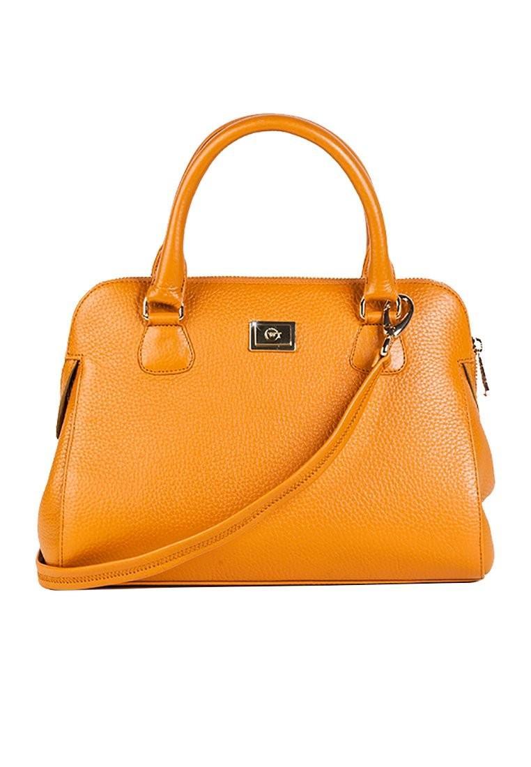 Túi xách da sần kèm dây đeo chéo màu cam WT