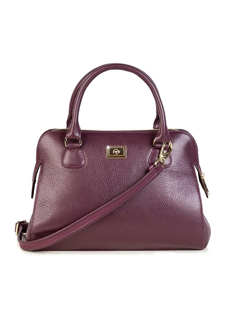 Túi xách da sần kèm dây đeo chéo màu tím WT